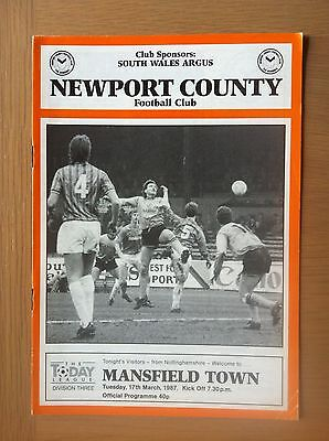 Newport County V Mansfield Town 1986-87