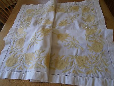 Vintage Hand Embroidered Cotton Tablecloth - Crewel Work - Gorgeous