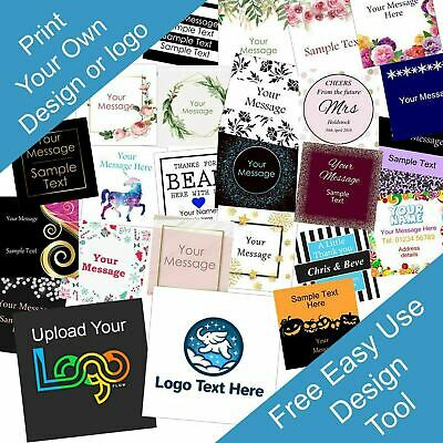 Personalised 40mm Square Business/Company Name Labels/stickers, Thank You Seals
