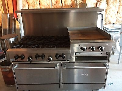 SunFire Stainless Steel Commercial 6 Burner Gas Stove/Double Oven Combo