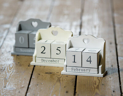 Shabby Chic Wooden Perpetual Calendar Date Blocks Heart Detail Cream Grey White