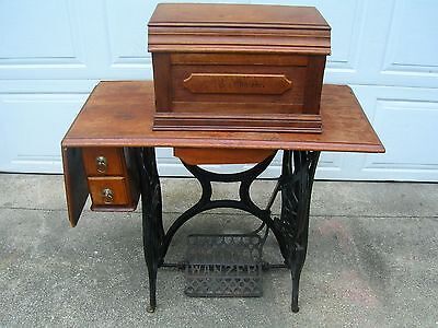 Rare Antique 1880 Wanzer Model C Sewing Machine Iron Stand Extras Not Singer