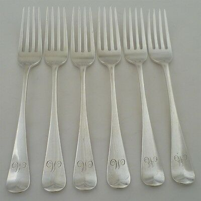 Set of 6 Georgian Solid Silver Old English Pattern Table Forks, London 1814 340g