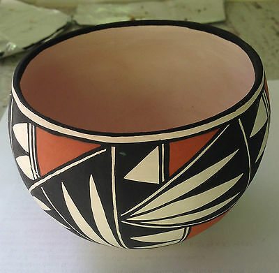 Native American Acoma Indian Pottery Hand Made and Painted by T.G. in New Mexico