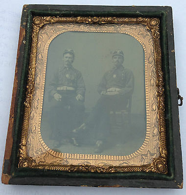Tintype of 2 Fireman / Firefighters in Uniform smoking Cigars very clear image