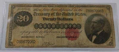 1882 $20 Twenty Dollar Note - Gold Certificate