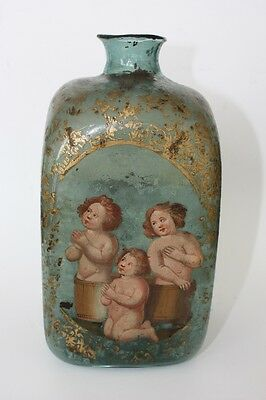A hand-painted square Italian(?) bottle from the 18th. century or earlier.