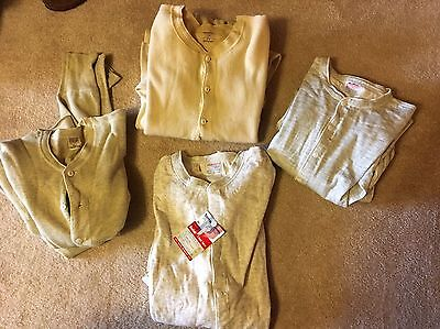 Vintage Wool Cotton Union Suits 40s 50s Long Underwear Lot Of 4 NOS Deadstock