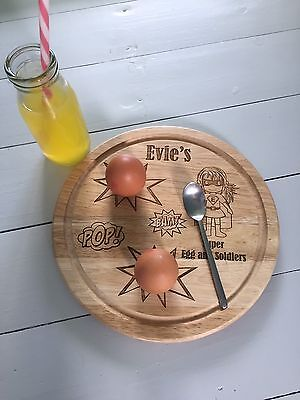 Egg Board Personalised Havea Wood Super Hero Super Girl Pop Bam Egg And Soldiers