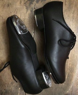 New Dance Class Black Leather Jazz Tap Shoes HALF PRICE Ladies 6 10 10.5 11