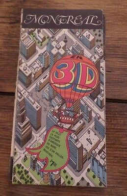 Vintage Montreal 3D Illustrated Fold Out Map Brochure 1970's Balloons Eye View