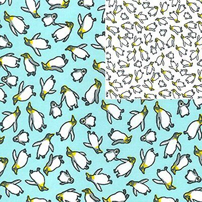 Printed Polyester Cotton - Penguins - 7213