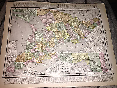 1898 RAND McNALLY MAP OF CANADA QUEBEC AND ONTARIO