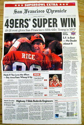 Best 1995 newspaper SAN FRANCISCO 49ers win SUPER BOWL XXIX v San Diego Chargers