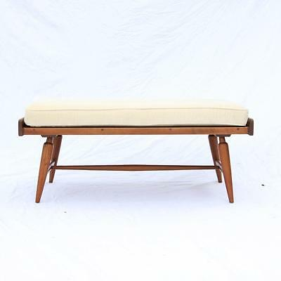 A Mid-Century Bench and cushion by Willett Furniture 1950s Solid Cherry VTG RARE