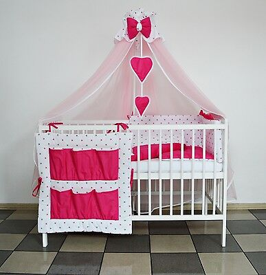 5 Pc Pink/grey Stars/pink Baby Bedding Set Cot Cotbed - Luxury Canopy+ Bumer+Mor