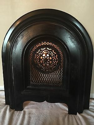 Antique Cast Iron Ornate Victorian Fireplace Surround Summer Cover Insert Arched