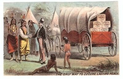 1880 Victorian Trade Card Uncle Sam The Only Way to Secure Lasting Peace
