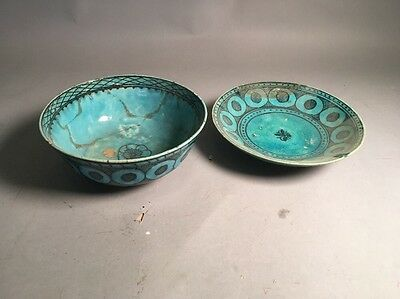 Lot Of 2 Persian Antique Islam Ceramic Bowls
