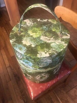 Vintage Tall Round Wig Train Travel Case Green Vinyl Hat Box Luggage W/foam Head