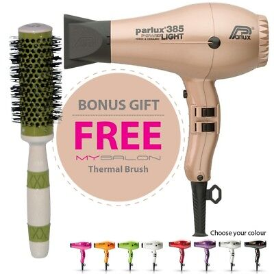 Parlux 385 Power Light Ceramic and Ionic Hair Dryer - Rose Gold With Bonus Th...