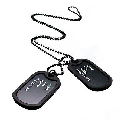 Military Army Style Black 2 Dog Tags Chain Mens Pendant Necklace Steady