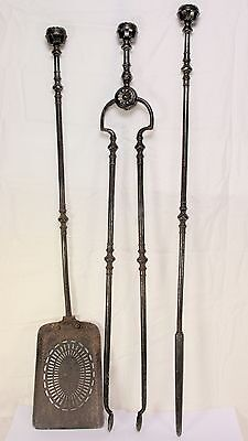 Antique 18th-19th English Steel Fire Irons Fireplace Tools-Pierced Shovel - 30""