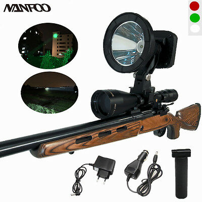 Rechargeable Cree T6 10W White/Green LED Hunting Spotlight Scope Mounted Lights
