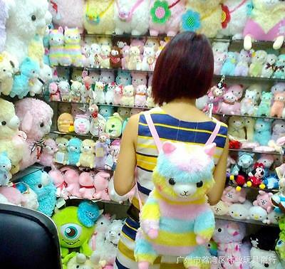 New Cute Rainbow Alpacasso Plush Soft Backpack Shoulderbag Toy Doll Kids Gift