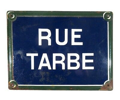 "Authentic Vintage French Paris Street Sign ""Rue Tarbé"" Batignolles, 17th Arrondt"