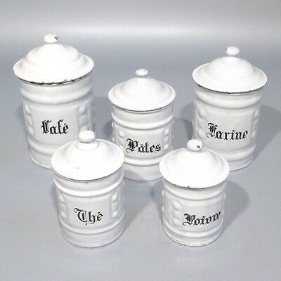 Vintage French Enamelware Enamel Canister Set, Embossed Design, 5 pcs, Coffee