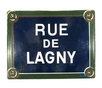 "Authentic Vintage French Paris Street Sign ""Rue de Lagny"" Charonne, 20th Arrondt"
