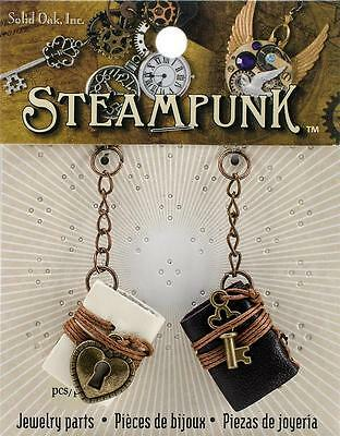 Solid Oak mini ~ LEATHER BOOKS ~ Steampunk Mixed Media Embellishments 2pk