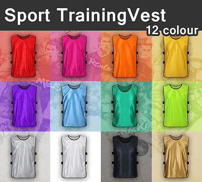 New FOOTBALL TRAINING BIBS Vests Soccer Rugby Basketball Sports Cricket Netball