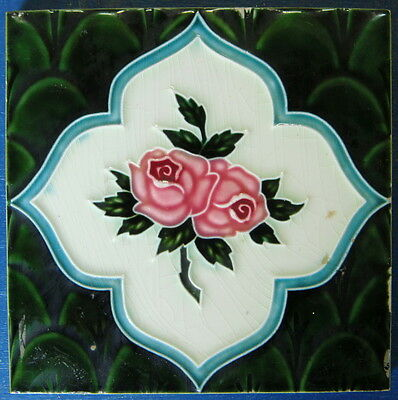 "Tile Vintage Glazed Two Roses ""Old Raj"" Style 15x15cm"