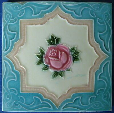 "Tile Vintage Glazed Rose ""Old Raj"" Style 15x15cm"