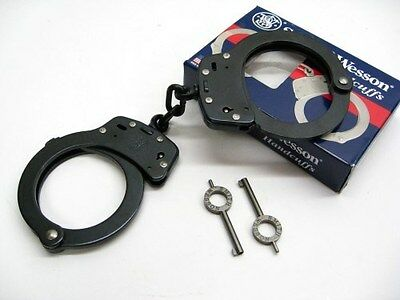 SMITH & WESSON S&W Chain Link Model 100 Blued BLACK Handcuffs + Keys! 350101