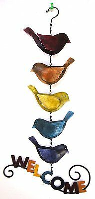 Bird Welcome Sign Outdoor Hanging Wall Home Decor Country Indoor Garden New