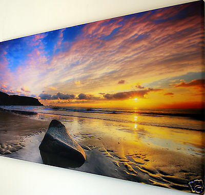"""Sunset  Beach  Wall Art Canvas Picture  Large 18"""" X 32"""""""