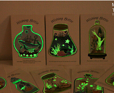 LOT 30PCS Wishing Bottle Illustration Postcard Glow in Dark Card Set Bulk