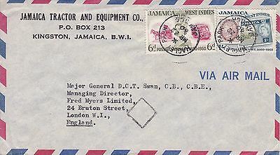 BD239) Nice Jamaica Adv. cover addressed to Maj. Gen. bearing: Stamps on stamps