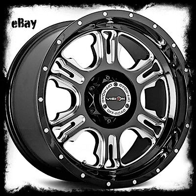 18 X8 5 Inch Black Vision Valor 413 Wheels Rims Fits Lifted Ford