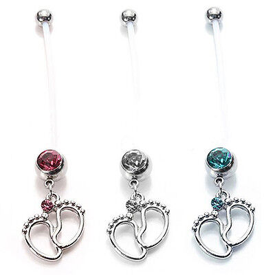 Maternity Belly Bar Flexible Tiny Feet Crystal Pregnant Navel Ring Steady