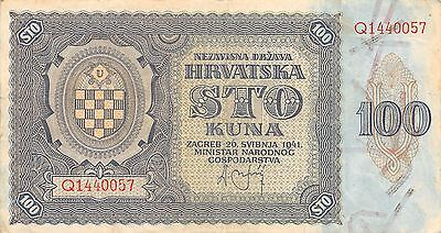 Croatia 100 Kuna  26.5.1941  P 2a  Series Q  Circulated Banknote EA3EL