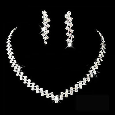 Bridal Wedding Prom Jewelry Shiny Rhinestone Elegant Necklace Earring Set Steady