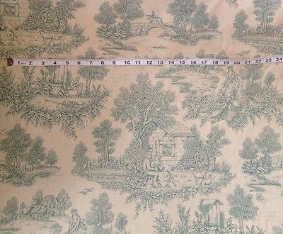 PM French Toile de Jouy Cotton Curtain Fabric Antique Style Pictorial  Isabella