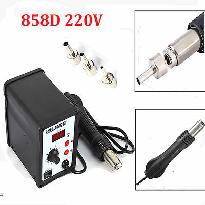700W Powerful 220V 858D Hot Air Soldering Rework Station Solder Stand 3 Nozzles
