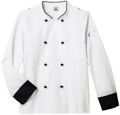 Five Star Adult Unisex Long Sleeve Split Black Piping Executive Chef Coat. 18545