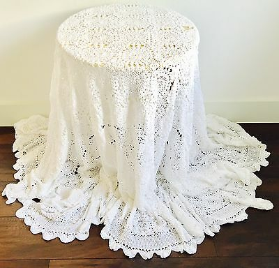 Vintage Crochet Extra Large Bedspread Blanket Throw Table Cloth