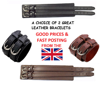 15 Designs - Wide Real Leather Cuff Bracelet Wristband Strap Buckle Mens Womens
